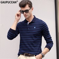 100% Cotton Men Long Sleeve Polo Shirt Anti static Soft Breathable Stripe Spring Autumn Male Clothing Fashion Man Polo shirt