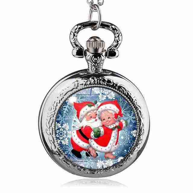 2017 Christmas Santa Claus Antique Quartz Pocket Watch Necklace Best Gift DIY Je