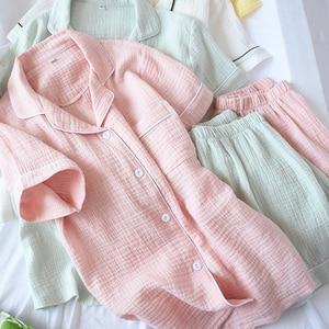 Image 2 - Bộ Đồ Ngủ Nữ Mùa Hè 100% Bông Kem Ngắn Tay Quần Short Pyjamas Mỏng Chắc Chắn Plus Kích Thước Đồ Ngủ Loungewear Hoem Quần Áo
