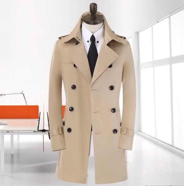 Spike ! 9XL 8XL big size Spring long black trench coat men new beige - Men's Clothing