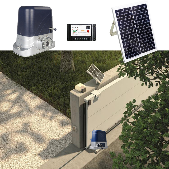 DC SOLAR POWER AUTOMATIC SLIDING DOOR GATE OPENER with 4m Nylon racks 1 flash light 1 pair of photocells 2