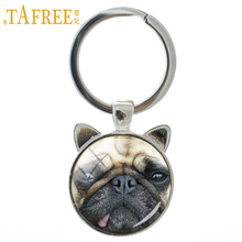 Hot fashion animal keychain Innocent Pug Red Fox Rough Collie key chain ring holder cute dog jewelry new men women keyring CN764