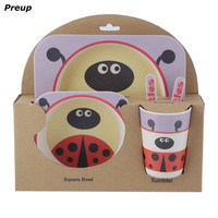 PREUP 5 개 유아 아기 세트 BPA 무료 환경 친화적 그릇 접시 포크 숟가락 병 식기 키트 아기 요리 세트 먹이