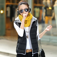 Cheap wholesale 2016 Spring Hot selling Cotton down female casual popular female thickening clothing with a hood women's Vest