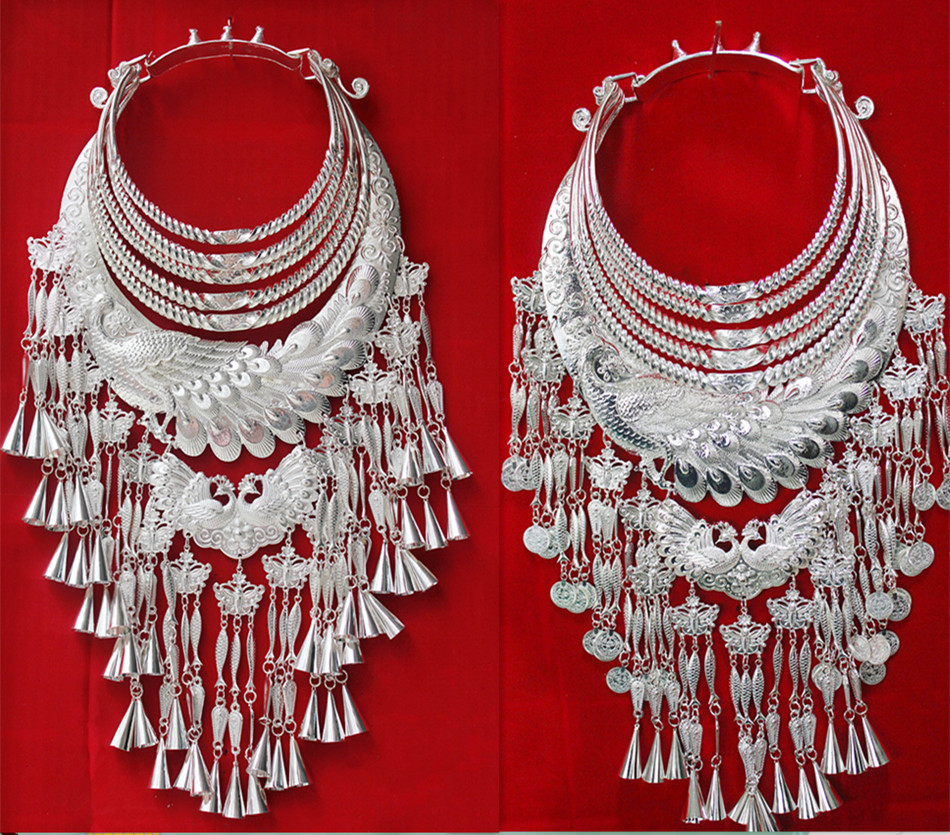 Miao Silver Necklace Hmong Dance Accessories Five Layer Phoenix Necklace For Chinse Folk Dance