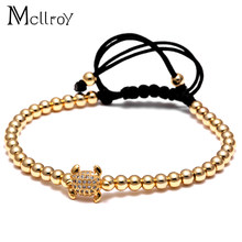 Mcllroy Mens 4mm Beads Bracelet Micro Pave CZ turtle Tortoise Bracelet, Braided Macrame Bracelets Luxury Men Animal Jewelry(China)