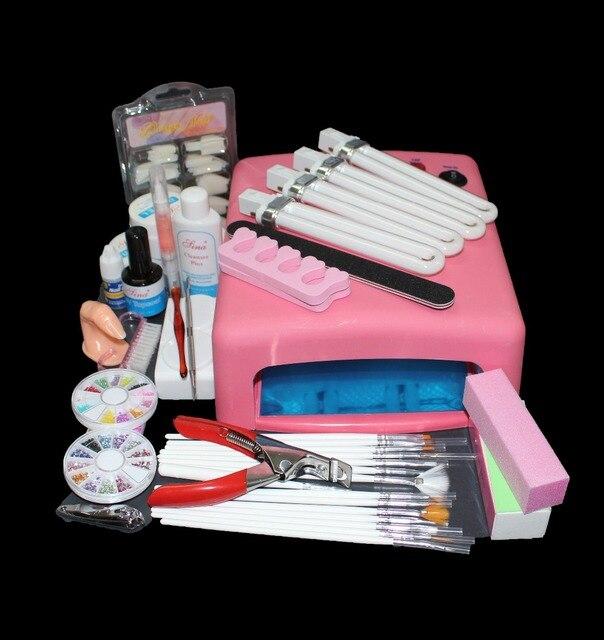 Pro 36W UV GEL Curing Bulb Lamp 15 Brush Pen File Nail Art Tips Tool Kits,nail art uv gel kit at BTT-81  free shipping