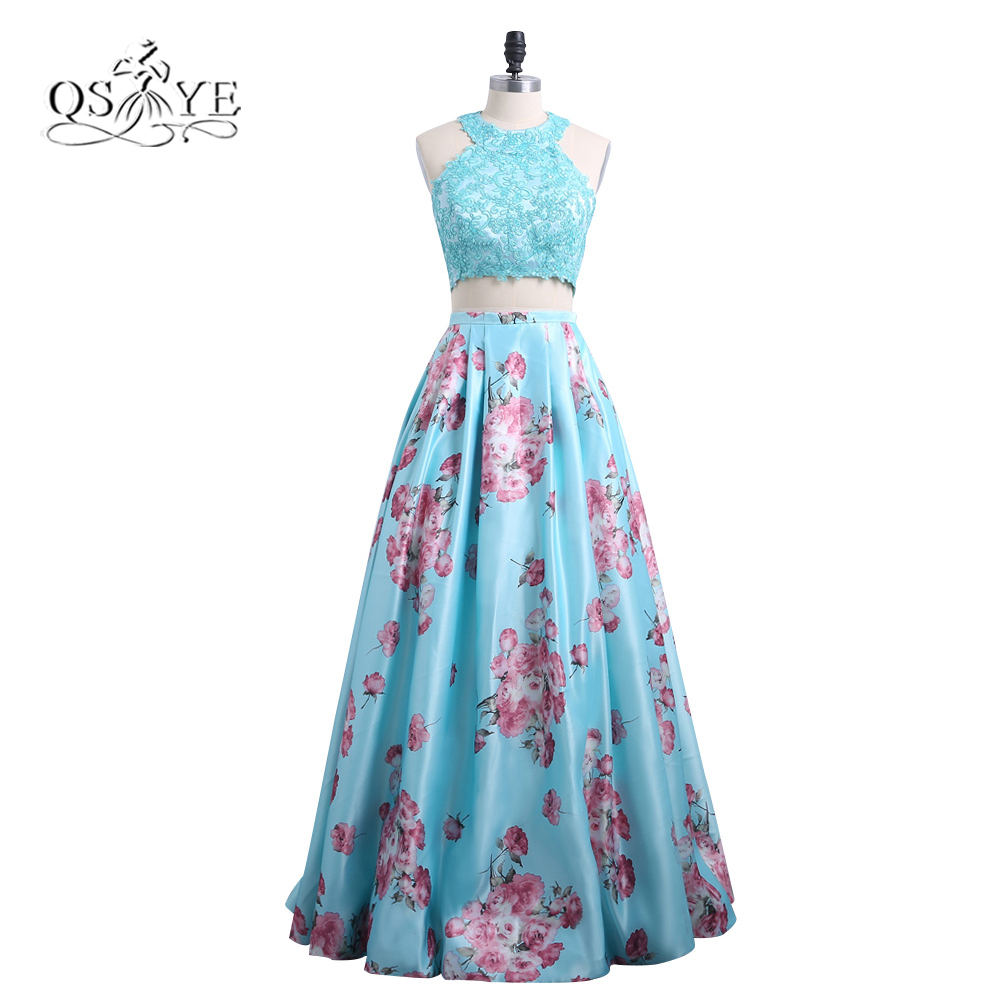 2018 New Fashion 3D Floral Print Flower Two Piece Prom Dresses Robe de Soiree Lace Top Floor Length Evening Dress Party Gown