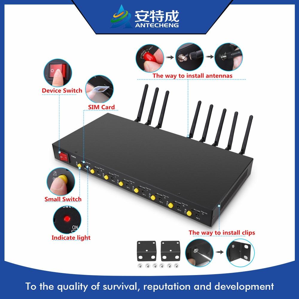 Newest 1U 3G MODEM pool 8 port gsm modem pool sim5320E support at command IMEI change 3G modem bulk sms sending device