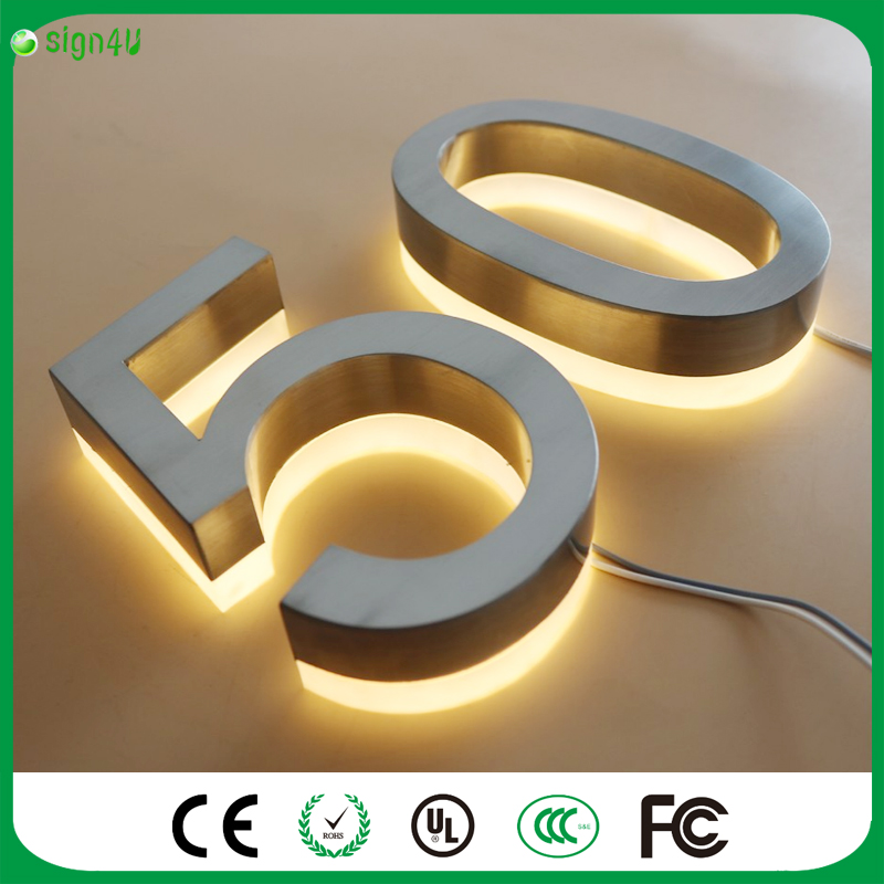 ФОТО Solar Doorplate Number Lamp Outdoor Lighting Billboard Light Stainless Steel House Apartment Number Light-Operated Lamp