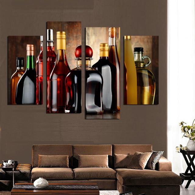 hd impreso botella de vino moderno pintura de pared cuadros modulares para la cocina bar comedor