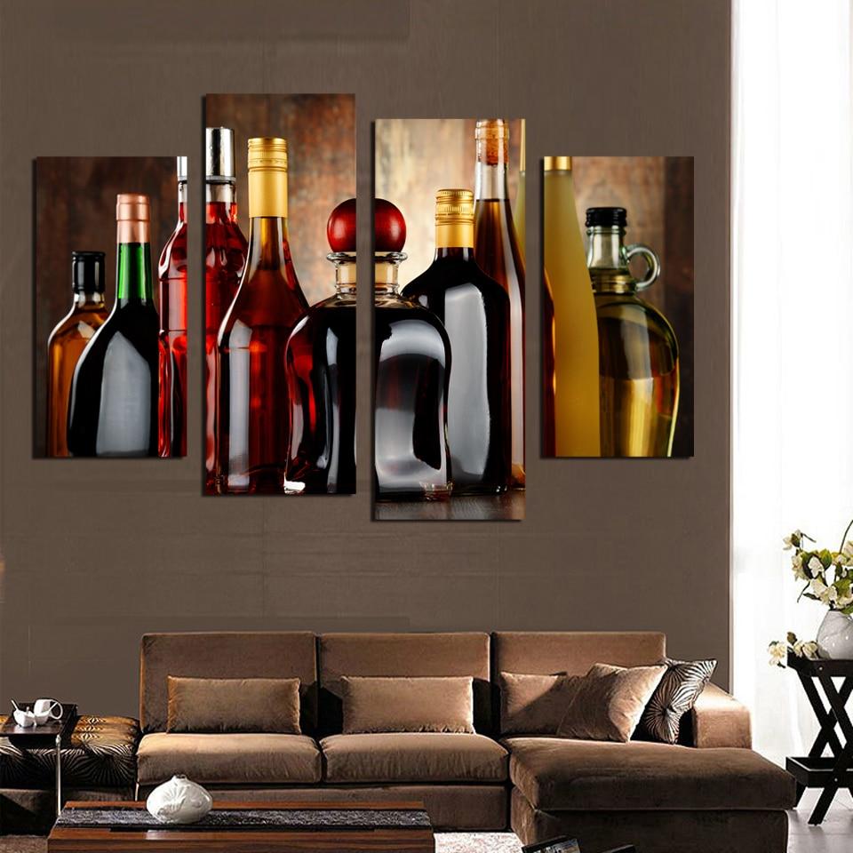 Purple Bowls Wine Bottels Modern Canvas Painting Wall Art: Popular Painting Wine Bottles-Buy Cheap Painting Wine