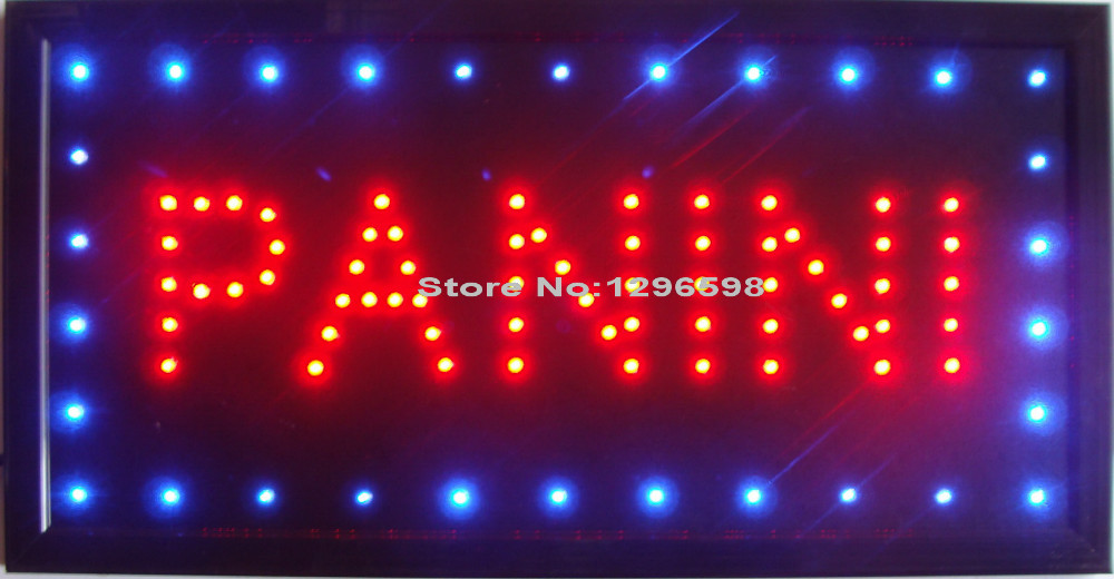 2017 led panini food open store neon lighted sign direct selling custom graphics 10X19 inch indoor Ultra Bright