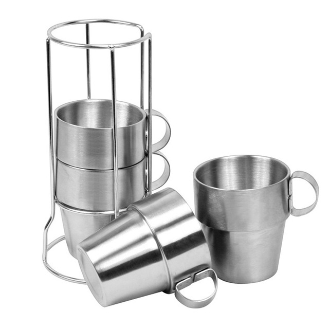( 4 pcs/set ) Portable Stainless Steel Coffee Cups Double-layer Insulated Cup for Home Office Outdoor Picnic Camping Hiking