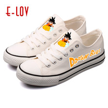 E-LOV Dragon Ball Custom Print Shoes Fashion Cross-tied Casual Women Sneaker Wedges Big Sizes Cartoon Animation Canves Shoes(China)