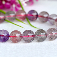 Wholesale Natural Genuine Multi Colors Mix Super Seven 7 Finish Stretch Bracelet Round Beads Melody Stone 9mm 04038
