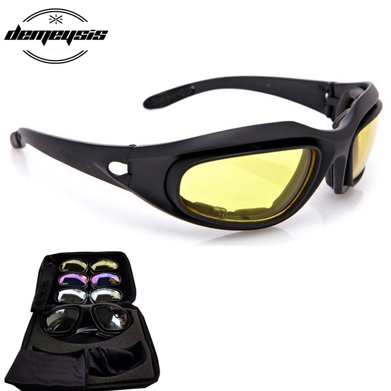 Army Goggles Desert 4 Lenses Outdoor UV Sports Hunting Milit