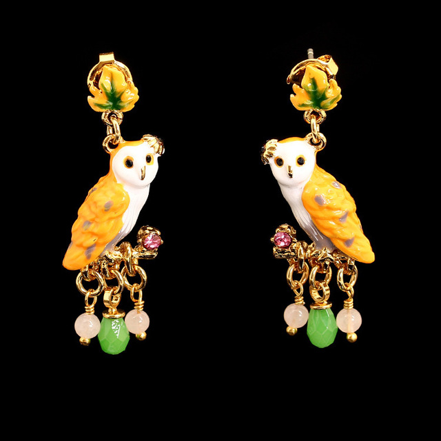 France LES Nereides 2016 New Arrivals Enamel Snow Owl Crystal Glaze Owl Gold-plated Fashion Earrings Jewelry For Women