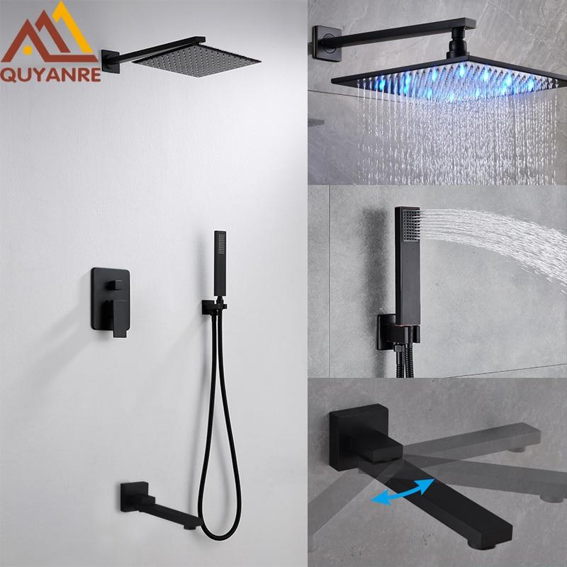Quyanre Black LED ORB Shower Faucets Set LED Rainfall Shower Swivel Tub Spout 3 way Single