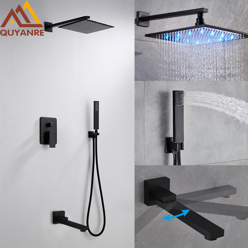 Quyanre Black LED ORB Shower Faucets Set LED Rainfall Shower Swivel Tub Spout 3-way Single Handle Mixer Tap Bath Shower Faucet quyanre matte black shower faucet set 4 way shower with commodity shelf bidet spray swivel tub spout 4 way mixer tap bath shower