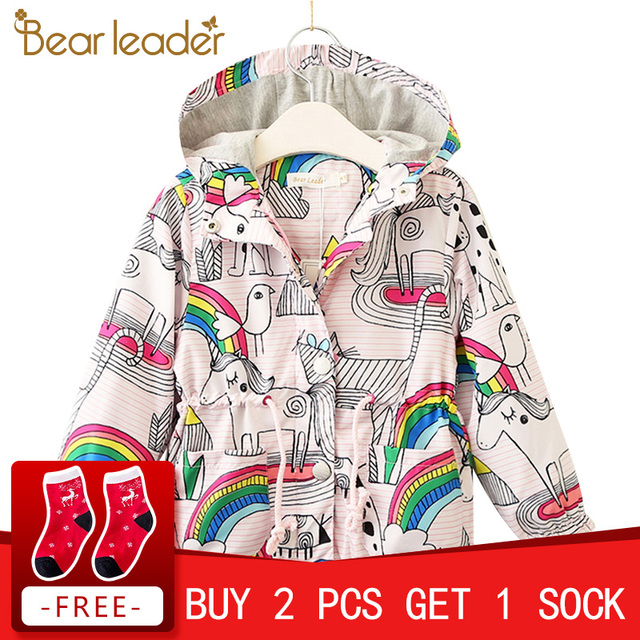 Bear Leader Girls Jackets 2018 New Autumn Brand Children Coats For Girls Clothes Rainbow Printing Outerwear Hooded For 3-7 Years