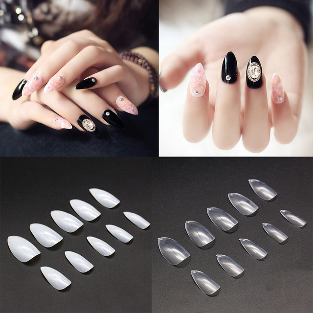 500 Pcs Almond Oval Pointy Acrylic Full False Nail Tips Art Diy Extension