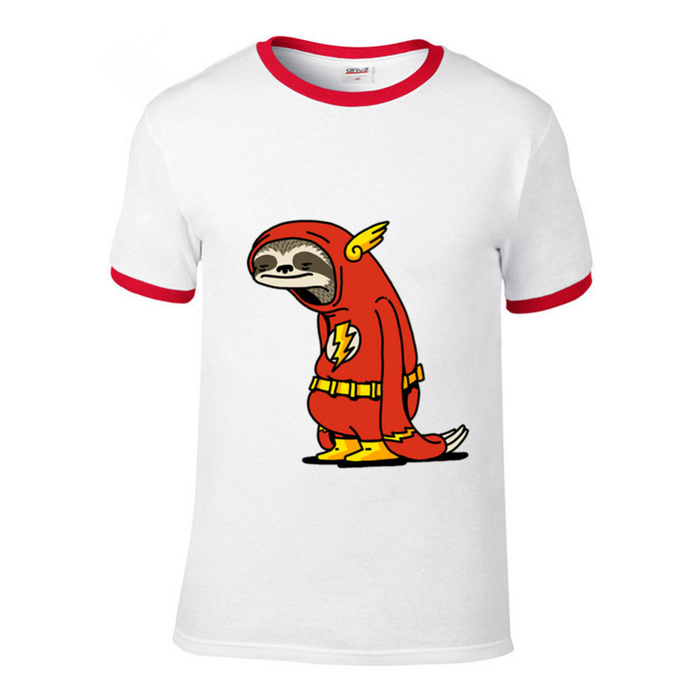 7d716ce3 New Funny Sloth The Flash T shirts men The Neutral T-shirt male super hero  Red Sloth tshirt harajuku Tops 100% cotton Tees