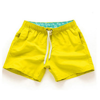 Yellow-Men Beach Sport Swim Trunks Surf Swimwear Quick Drying Briefs