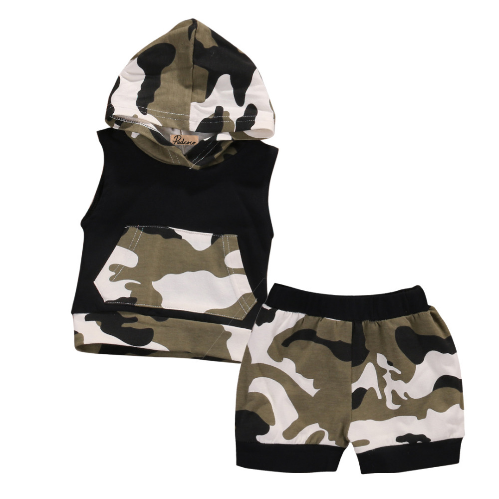 2pcs Newborn Infant Baby Boy Girl Clothes Summer Cotton Camouflage Sleeveless Hooded T-shirt+Short Pants Baby Clothing Set summer baby boy clothes set cotton short sleeved mickey t shirt striped pants 2pcs newborn baby girl clothing set sport suits