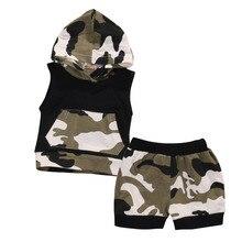 2pcs Newborn Infant Baby Boy Girl Clothes Summer Cotton Camouflage Sleeveless Hooded T shirt Short Pants