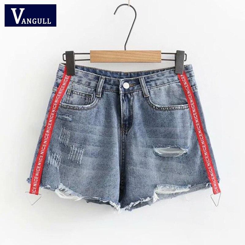 Women Denim Shorts Side Stripe High Waist Jeans Shorts Fashion Sequined Street Wear Sexy Summer Autumn Hole Shorts VANGULL 2018