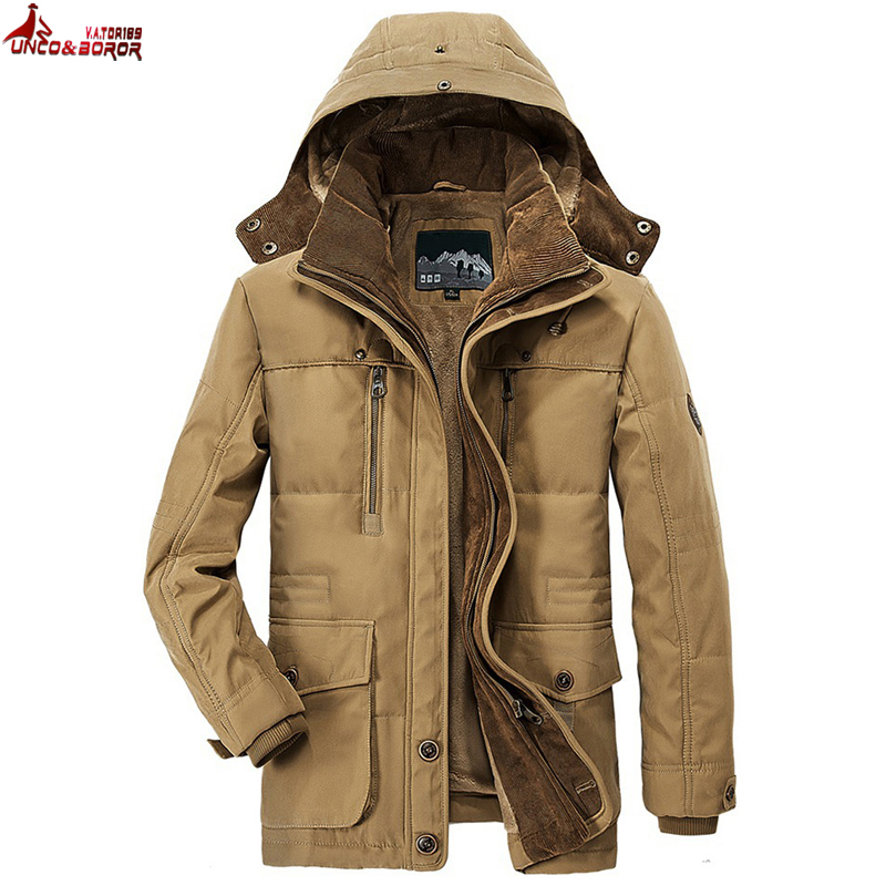 UNCO & BOROR ドロップ無料冬ジャケット男性厚い毛皮フード付き生き抜く暖かいコートカジュアル中年男性のパーカーオーバーサイズ L 〜 6XL  グループ上の メンズ服 からの ジャケット の中 1