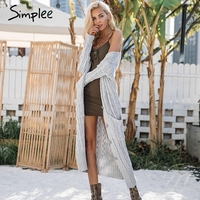 Simplee Knitting Long Cardigan Sweater Women Jumper Long Sleeve Knitted Cardigan Female White Pocket Pull Knit