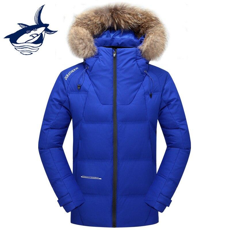 Famous Brand Tace & Shark Down Jacket Men Fur Collar Windproof Waterproof Thermal Russia Winter Jacket Men White Duck Down Coat