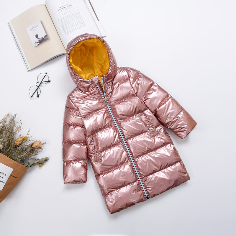 Children Outwear New Winter coat Silver Children Baby Girl Clothes Duck Down Jacket Kids Overcoat Boy long hooded Parka Coat immdos winter new arrival down jacket for boy children hooded outwear kids thick coat baby long sleeve pocket fashion clothing page 3