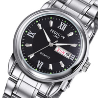 Fedylon Watch Men Top Brand Luxury Business Watches Stainless Steel Classic Week Calender Mens Quartz Watch
