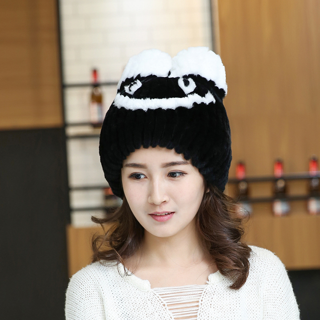 2016 Smile Face Skullies Beanies For Female Cute Animal Hat Genuine Rabbit Fur Russian Hats Winter Hedging Caps Mujer TM-16