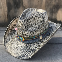 Летняя женская Соломенная полая западная ковбойская шляпа Элегантная Леди сомбреро Hombre Шляпа Чародей кисточка Sunbonnet Cowgirl Sun Hat