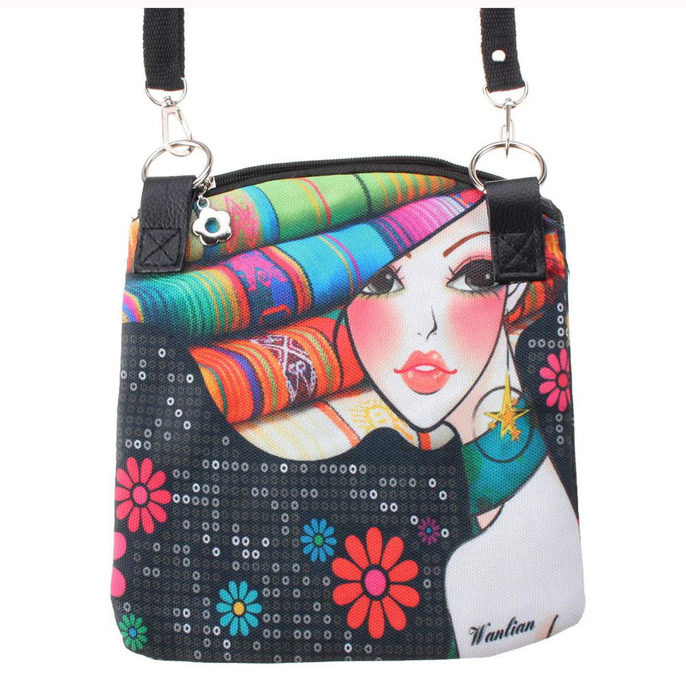 Women Messenger Bags Vintage Canvas Printing Small Satchel Shoulder European Style Girls Handbag Lady Crossbody Bag Black 19