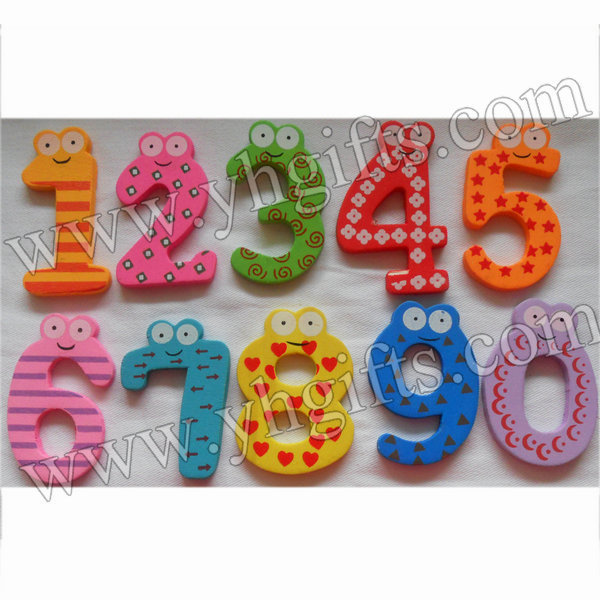 20PCS/LOT.Wood cartoon 0-9 numbers stickers,Kids toys.Early educational DIY.Kindergarten crafts.Gifts.Wholesale