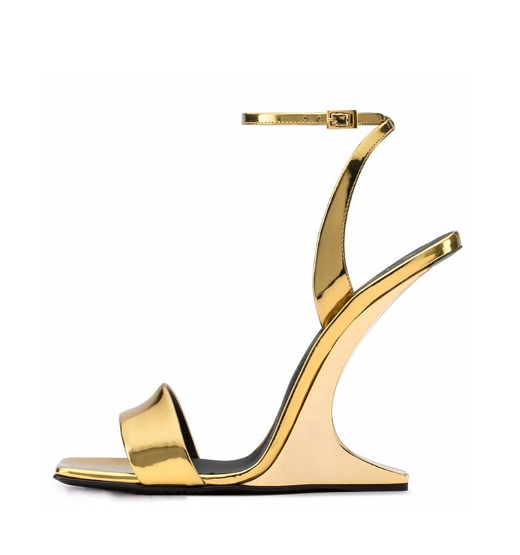 Hot Selling Sexy Open Toe Strange Heels Woman Sandal Summer Newest Ankle Strap Super High Dress Shoe Gold Leather Sandal Hot Selling Sexy Open Toe Strange Heels Woman Sandal Summer Newest Ankle Strap Super High Dress Shoe Gold Leather Sandal
