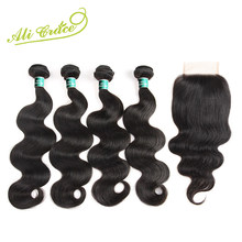 Ali Grace Malaysian Body Wave Hair With Closure Natural Black Color Remy Human Hair With 100% Hand Tied 4*4 Swiss Lace Closure(China)
