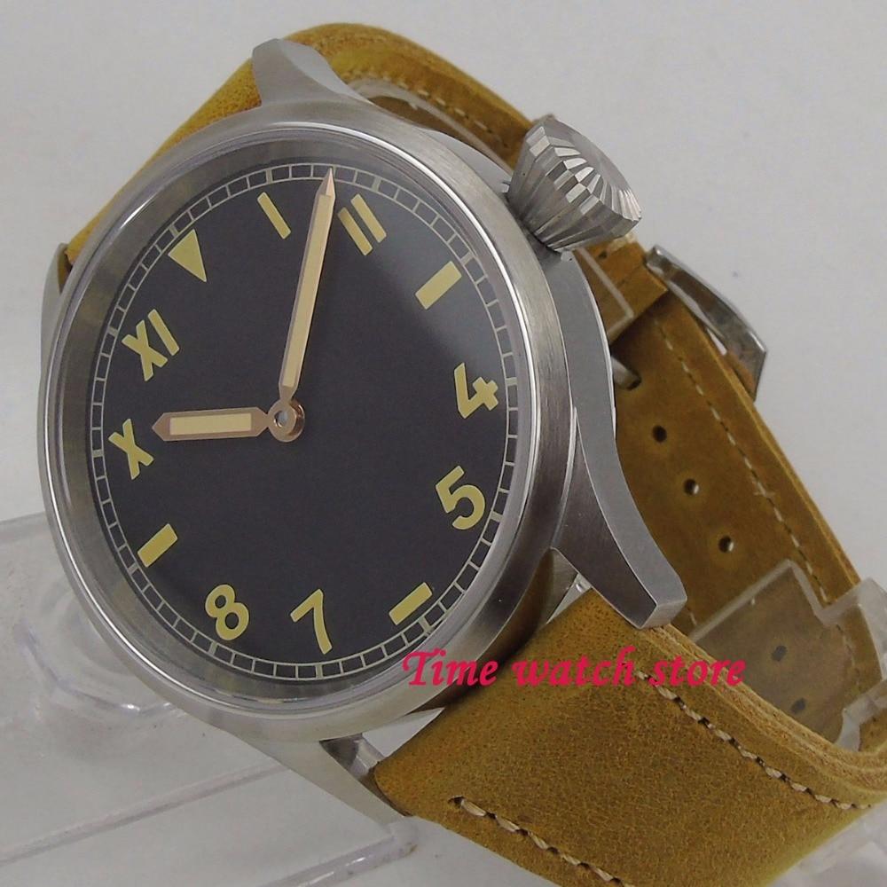 купить 43mm Parnis mechanical Men's watch California dial sapphire glass 17 jewels 6497 hand winding movement wrist watch men 1203 по цене 7101.09 рублей