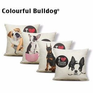Lovely Bull Terrier Beagle Cushion Covers Boston Terrier Boxer Dog Pillow Cases Bulldog Cat Chihuahua Doberman Home Decor 43 cm(China)