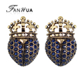 FANHUA Retro Style Antique Gold with Blue Rhinestone Crown Clip on Earrings for Women Fashion Jewelry