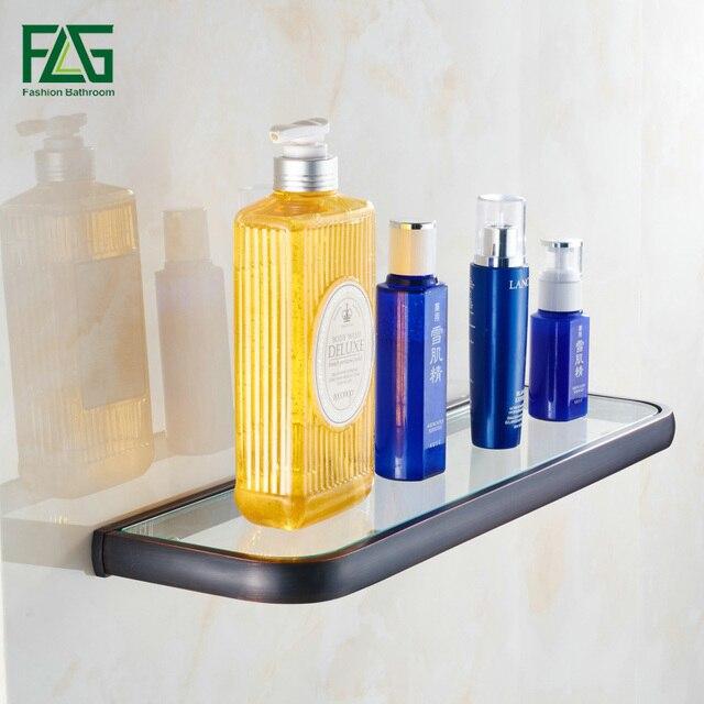 FLG Euro Single Glass Shelf Bathroom Shelf Wall Mounted Oil Rubbed Bronze Solid Brass Tempered Glass Bathroom Accessories 81310