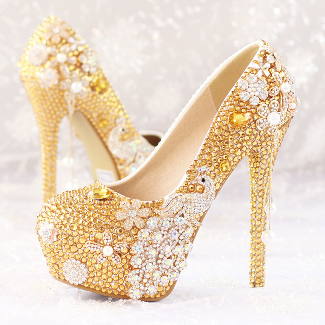 Flower Pendant Tassel Pearl Bridal Shoes Phoenix High Heel Waterproof Diamond Gold Wedding Shoes