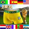 WORLD CUP FLAG UNIQUE FASHIONAL DESIGN MALE  SOFT COMFORTABLE COTTON VENTILATION BREATHABLE THREE CLIPPING MEN BOXER UNDERWEAR