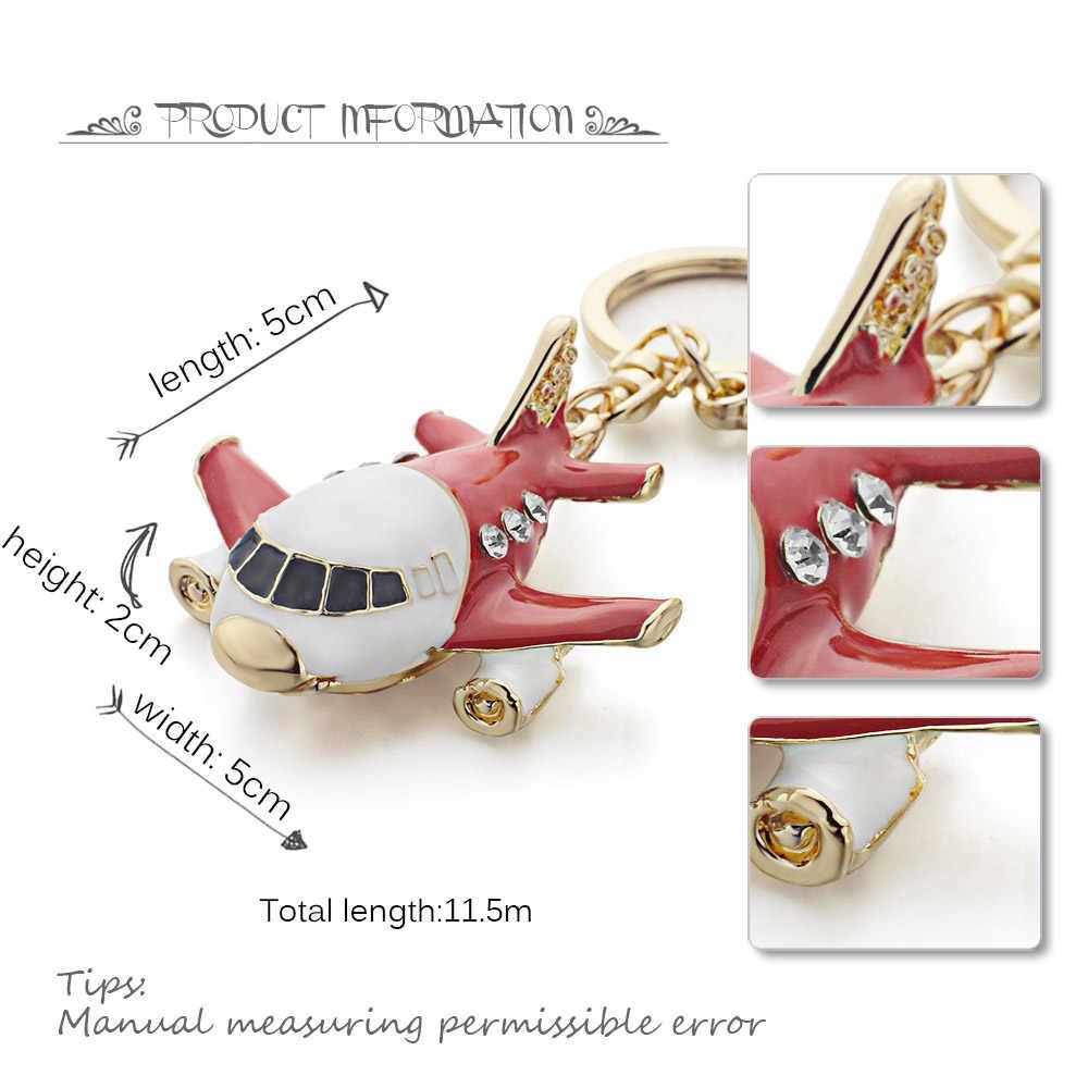 Dalaful vívido esmalte avião chaveiros de cristal avião chaveiro bolsa pingente chaveiro titular anéis para carro k313