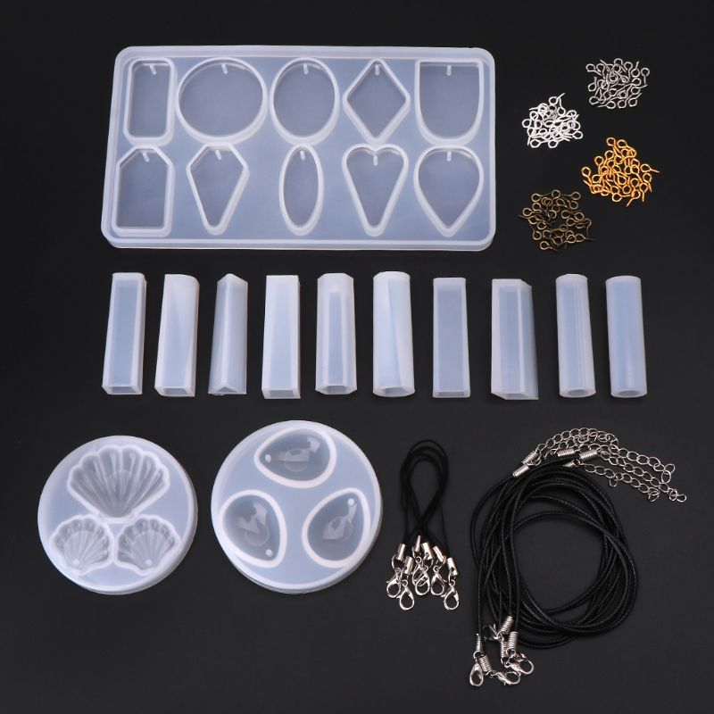 Crafts Epoxy Mould Pendant Chain Jewelry Shell Water Drop Shape Making Model DIY Mold Parts Set Decoration